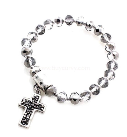 Bce Charcoal Graphite Beaded Silver Lining Cross Bracelet