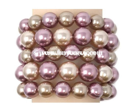 Bce- Copper/purple Multi Set Pearl Bracelet