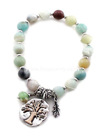 Bce- Earth-Tone Tree Of Life Charm Bracelet