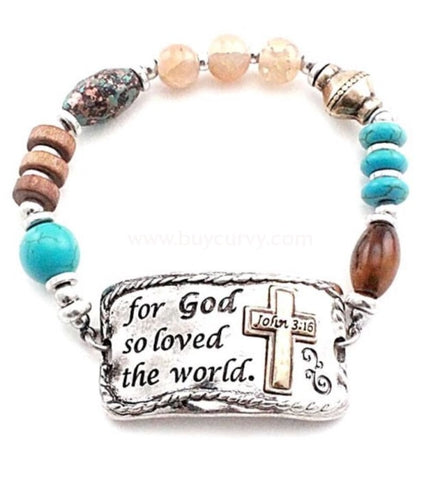 Bce- For God So Loved The World Teal/brown Bracelet