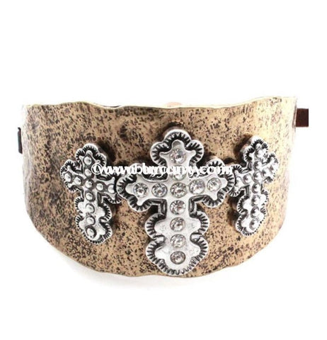 Bce- Gold Rustic Hammered Cross Bracelet