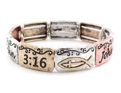 Bce- John 3:16 Faith Fish Hammered Bracelet