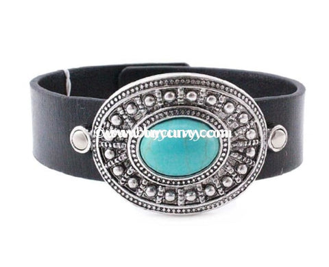 Bce Leather Bracelet With Silver Buckle And Teal Pendant