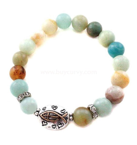 Bce Multi Color Faith Fish Bracelet