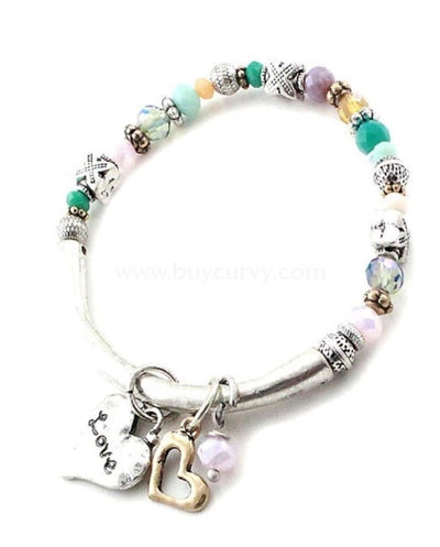 Bce Silver Love Heart Bracelet With Beads