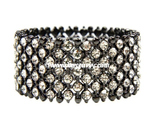 Bce Wildflower Black/rhinestone Stretch Bracelet
