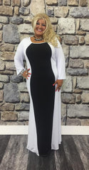 #9-ZZ Black/White Sublimation Maxi Dress Extended Plus (4X5X6X)