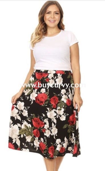 Bt-A {Love Yourself} Black Stretchy Skirt With Red & White Roses Bottoms