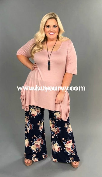 Bt-A {Must See} Navy Floral Palazzo Pants (Soft Feel) Sale! Bottoms