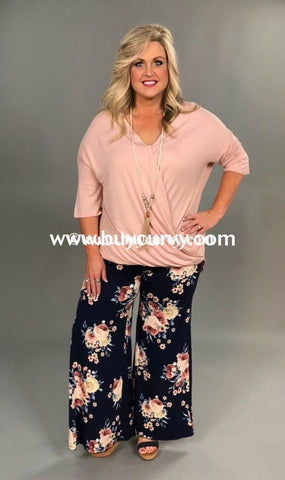 9a46ad544d4bc Bt-A  Must See  Navy Floral Palazzo Pants (Soft Feel) Sale