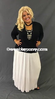 Bt-A Off-White Pleated Skirt With Wide Elastic Banded Waist Sale! Bottoms