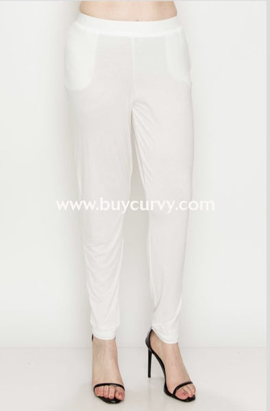 Bt-A {Perfect Harmony} Stretchy Ivory Pants Elastic Waistband Bottoms