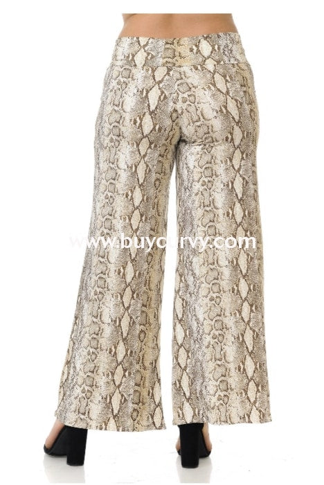 Bt-A {Salt Of The Earth} Beige/brown Snakeskin Print Palazzo Pants Bottoms