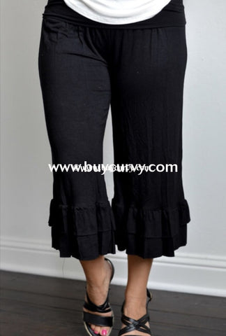 Bt-A {Sassy Chic} Double Ruffle Black Capri Pants Bottoms