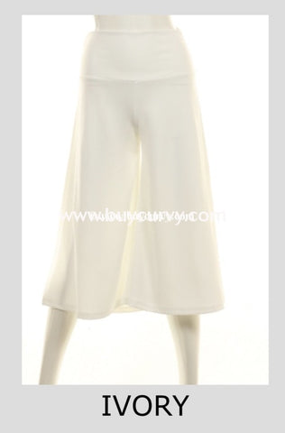 Bt-B {Come As You Are} Ivory Wide Leg Capri Pants Sale! Bottoms