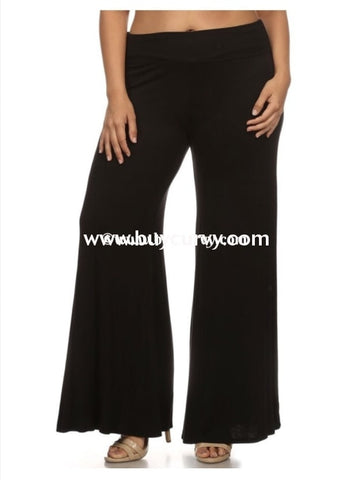 Bt-B {Let It Be} Black Stretchy Palazzo Pants With Flared Bottom Bottoms