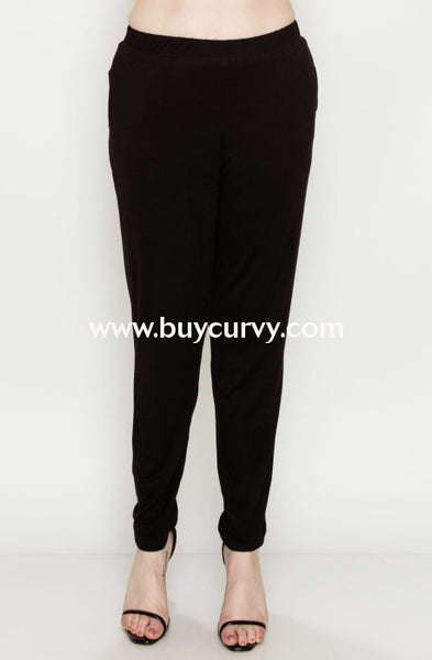 Bt-B {Perfect Harmony} Stretchy Black Pants Elastic Waistband Bottoms