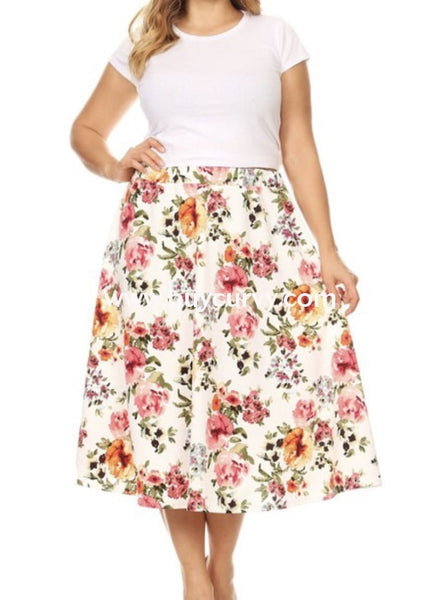 Bt-B {Positive Look} Stretchy Ivory Floral Print Skirt Bottoms