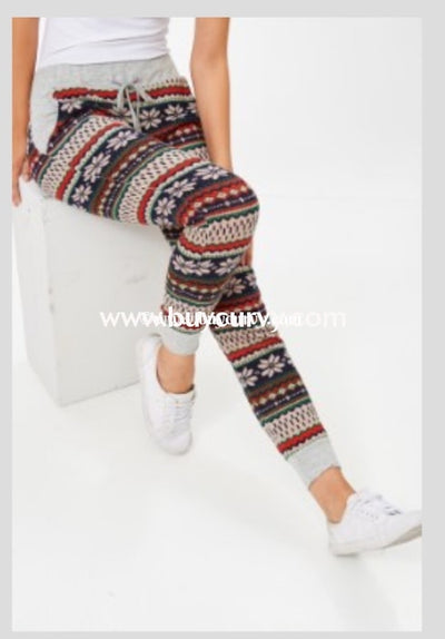 Bt-B Snowflake Print Comfy Knit Pants Bottoms