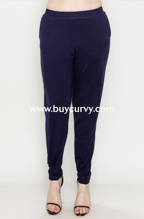 Bt-C {Perfect Harmony} Stretchy Navy Pants Elastic Waistband Bottoms