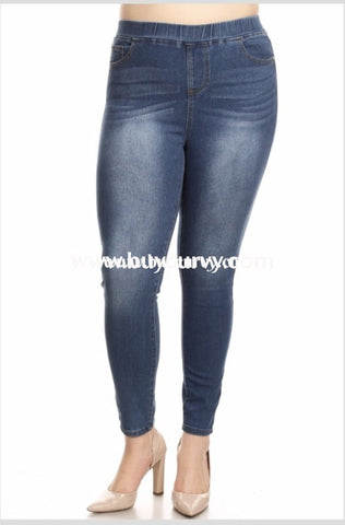 Bt-C {The Bottom Line} Faded Denim Jeans With Elastic Band Waist Bottoms