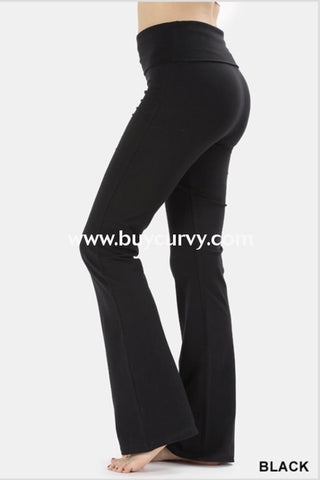 Bt-D {Generation X} Black Yoga Pants With Foldover Waistband Bottoms