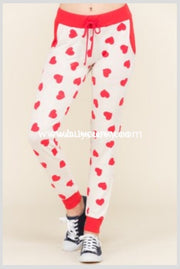 Bt-E Drawstring Lounge Pants Or Joggers With Red Hearts Sale! Bottoms