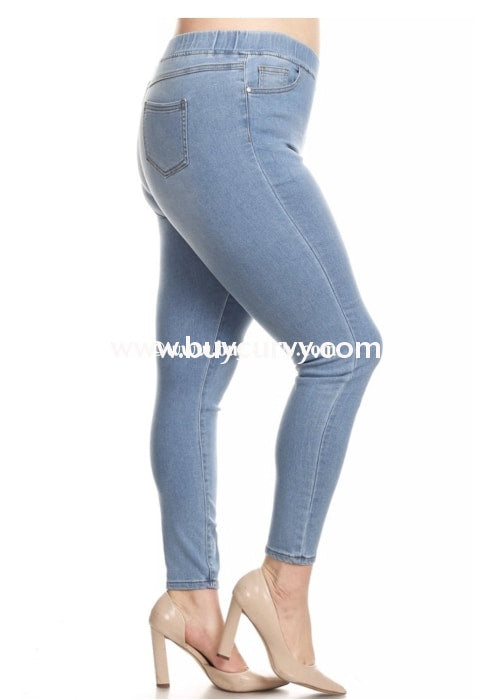 Bt-E {The Bottom Line} Light Faded Jeans With Elastic Band Waist Bottoms