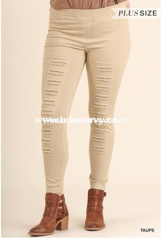 Bt-E Umgee High Waisted Jeggings With Distressed Front Sale! Bottoms