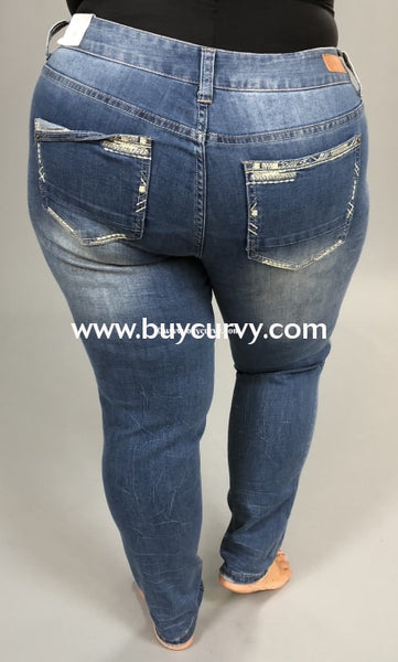 Bt-F Amethyst Skinny Jeans W/folded Detail Pocket Bottoms