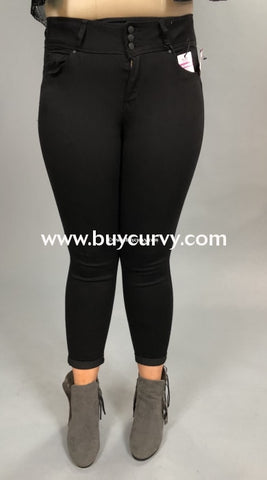 Bt-F Wax Jean Black Denim Butt Lifting Jeans 3 Button Sale! Bottoms