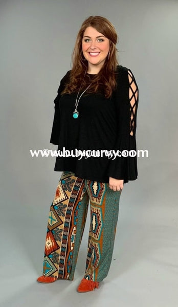 Bt-G Rust/teal Tribal Print Palazzo Pants With Fold-Over Waist Sale! Bottoms