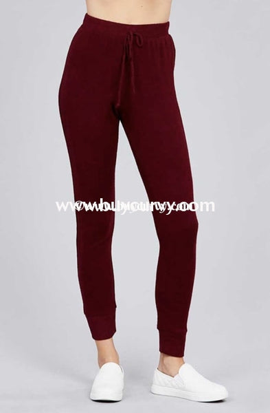 Bt-I {The Best Of Fall} Burgundy Soft & Stretchy Active Pants Bottoms