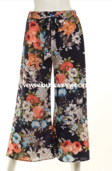 Bt-L I Remember Navy Floral Print Palazzo Pants W/ Bow Sale! Bottoms