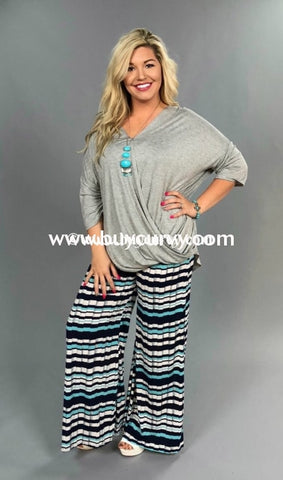 Bt-L Navy/mint Geometric Striped Print Palazzo Pants Sale! Bottoms