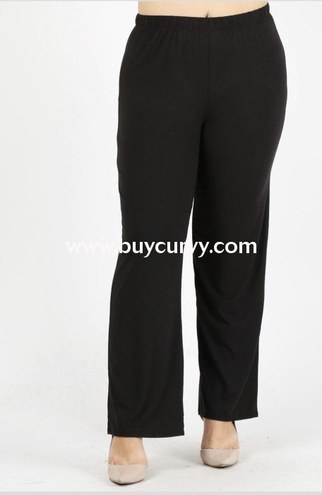 Bt-M {A Wise Choice} Soft Black Pants With Elastic Waistband Bottoms