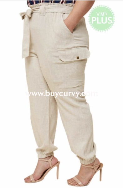 Bt-M {Crusin The City} Linen Cargo Pants With Tie Belt Bottoms