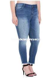 Bt-M Here She Comes Cello Light Wash Denim Frayed Jeans Bottoms