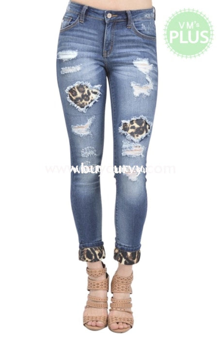 Bt-M Kancan Denim Holey Jeans Leopard Patches & Hem Bottoms
