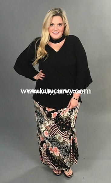 Bt-M Savage Black & Coral Floral Striped Print Skirt Bottoms