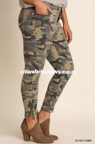 Bt-M Umgee Olive Camo Zipper Detail Pants With Pockets Sale!! Bottoms