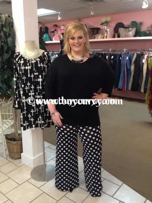 Bt-N Black & White Polka-Dot Palazzo Sw 3X Bottoms