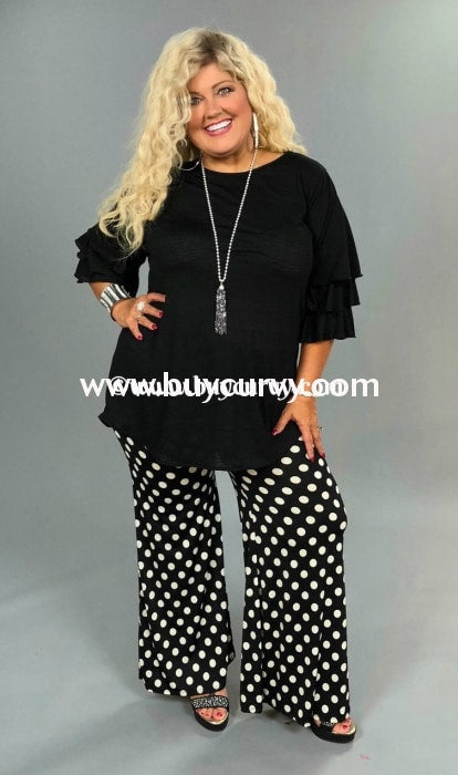 Bt-N Black & White Polka-Dot Palazzo Sw Bottoms
