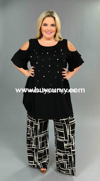 Bt-N Decide Black/ivory Square Palazzo Pants Waistband Sale! Bottoms