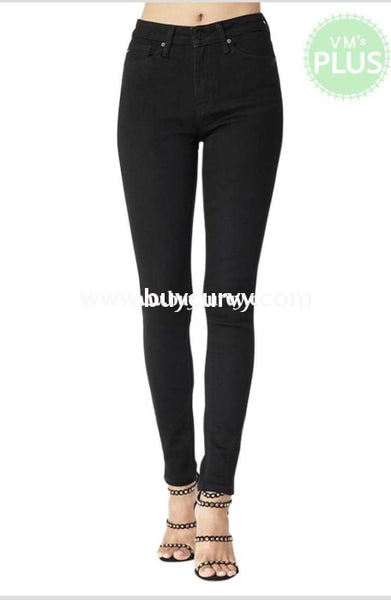 Bt-O {Midnight Train} Black Denim Stretchy Straight-Leg Jeans Bottoms