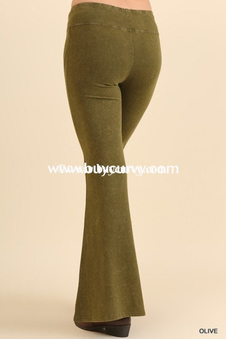 Bt-P Umgee Olive Prewashed Cotton Flared Leg Pants Sale! Bottoms