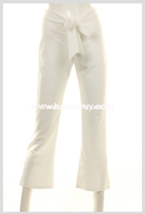 Bt-Q Embrace Elegance Ivory Pants With Bow Front Detail Sale! Bottoms