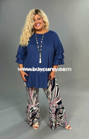 Bt-Q Navy/ivory Neon Palazzo Pants With Ruffle Bottom Sale! Bottoms