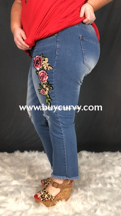 Bt-R Distressed Denim Cropped Frayed Jeans With Floral Patch Bottoms