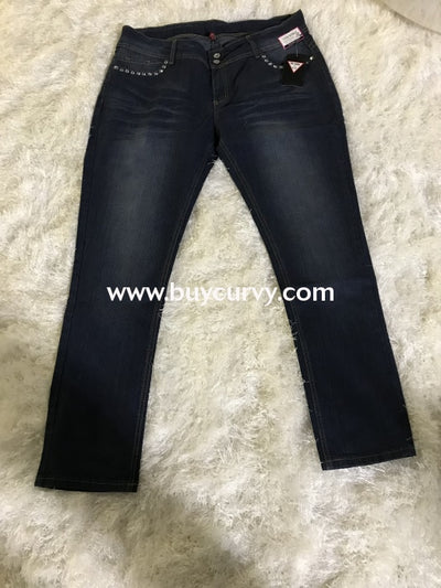 Bt-T Be Girl Dark Indigo Skinny Jeans With Rhinestones Sale! Bottoms